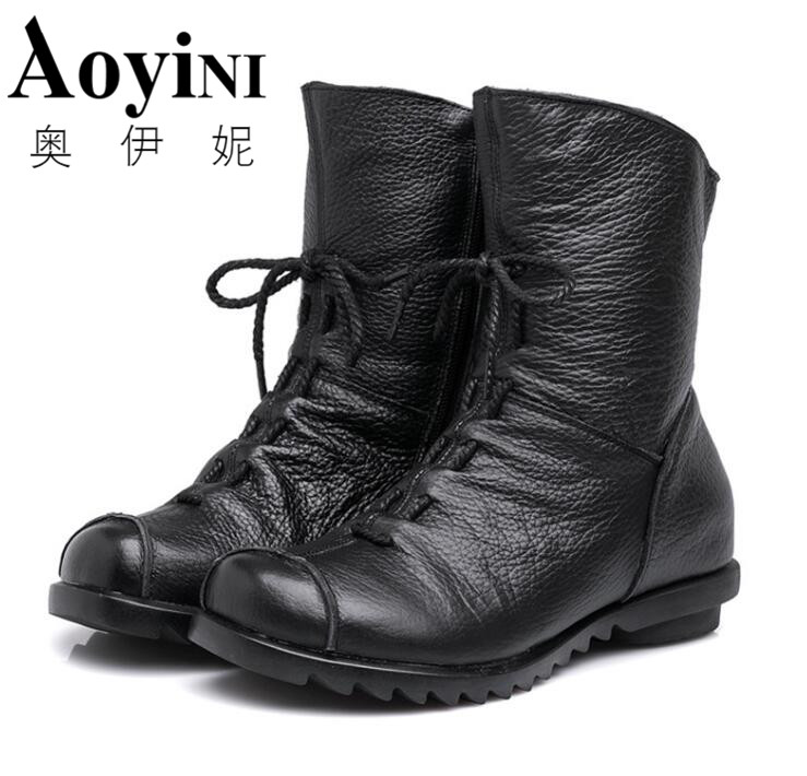 2017 New Vintage Style Genuine Leather Women Boots Flat Booties Soft Cowhide Women's Shoes Front Zip Ankle Boots zapatos mujer maylosa 2017 vintage style genuine leather women boots flat booties soft cowhide women s shoes zip ankle boots warm winter shoe
