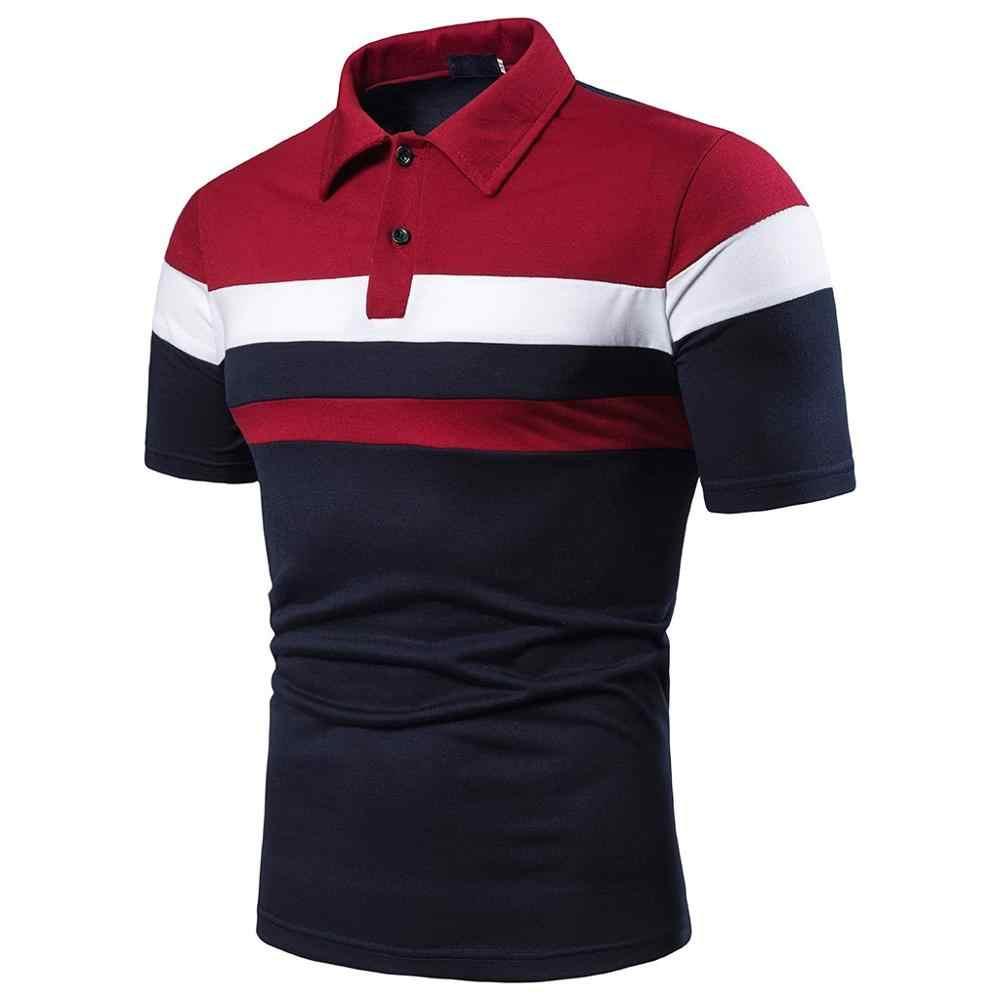 Homens verão moda camisa de manga curta pathwork casual esporte top blusa bordado respirável algodão costura polo camisa