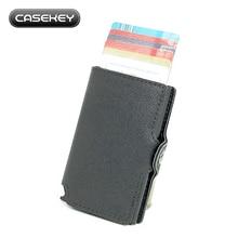 CaseKey Бесплатная доставка Металлический алюминиевый держатель кредитной карты с RFID / NFC Блокировка Pu saffiano Leather Mini Wallet LOGO настраивается