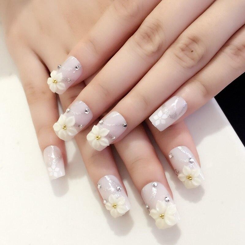 Platte 3d Nail Design Tips Shimmer Glitter Witte Bloemen Crystal