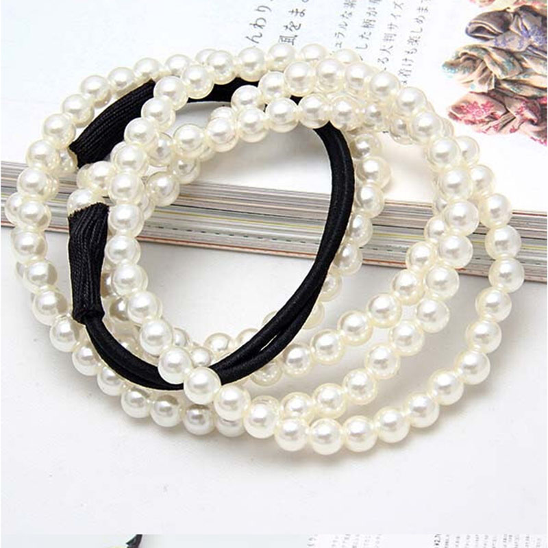 Apparel Accessories Symbol Of The Brand Terokk Fashion Women Charm Chain Artificial Pearls Headband Jewelry Elastic 2 Layers Hair Hoop Beautiful In Colour