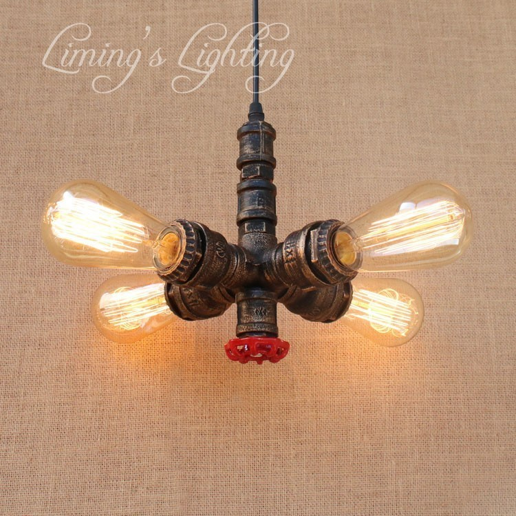 Nordic Loft Style Water Pipe Lamp Edison Retro Pendant Light Fixtures RH Vintage Industrial Lighting Dining Room Hanging Lamp loft vintage edison glass light ceiling lamp cafe dining bar club aisle t300