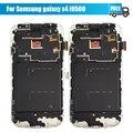 Para samsung galaxy s4 i9500 lcd screen display toque digitador assembléia com frame branco azul frete grátis