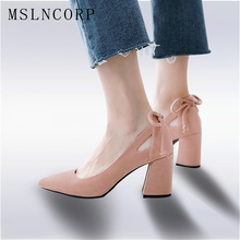plus size 34-46 Fashion High heels shoes women Pumps Square heel Pointed Toe Dress Pumps Shallow Party Stilettos Ladies Footwear недорого