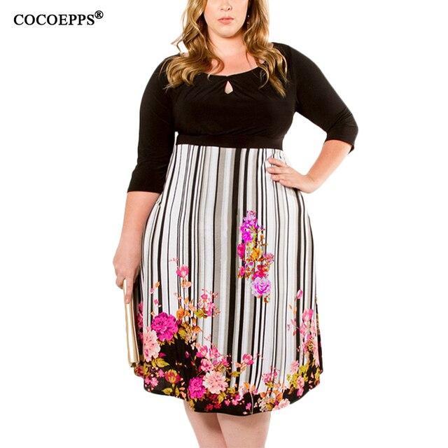 ed74ce7c18648 Autumn 6XL Plus size Floral Print Skater Dresses Women Clothing Large Big  Size Party Casual Office Girls Dress Vestido de Festa