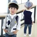 Crianças estilo casual Tricô Colete de lã meninos Pop semínima camisola Crianças inverno Camisas Sem Mangas roupas íntimas