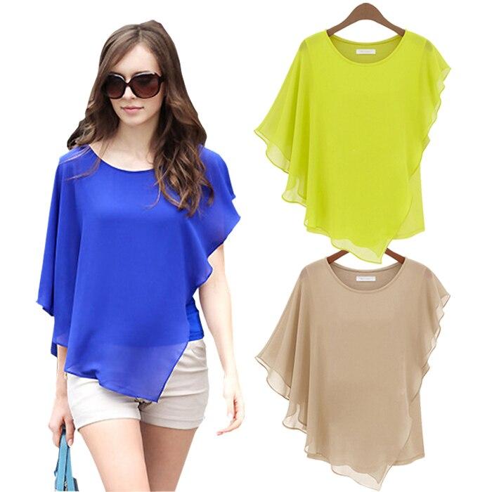 Mulheres blusas de Verão 2017 das Mulheres Curto-de mangas compridas Com Babados Chiffon Blusa Tops Camisa Bat blusas feminino Plus Size mulheres roupas