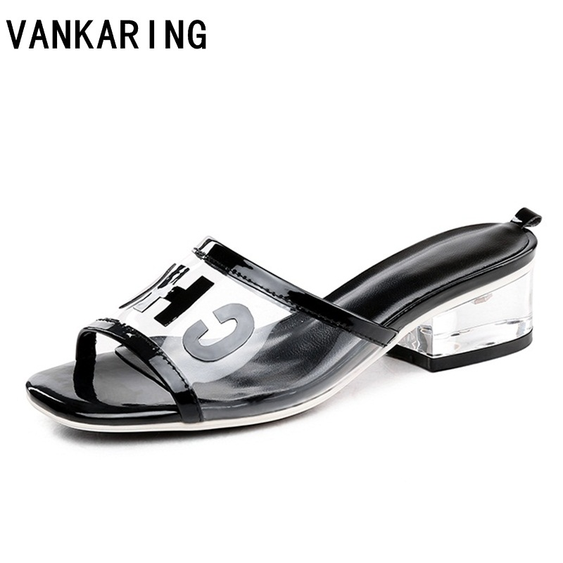 brand summer shoes women sandals transparent pvc patent leather high heels sexy open toe clear dress