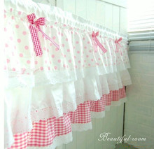 SK 1Panel 50cm height Cake Style Folds Pink Bow Cotton Decorative Short Curtain Kitchen Curtain Coffee Curtain