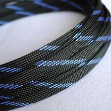 1 м черный и синий Высокое качество 10 мм оплетка ПЭТ расширяемая гильза высокой плотности Обшивка плетеный кабель рукава DIY