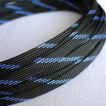 1 meters Black & Blue High quality 10mm Braided PET Expandable Sleeving Density Sheathing Plaited Cable Sleeves DIY
