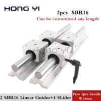 Envío Gratis: 2 piezas SBR16 guías lineales L 1000mm soporte lineal de eje de carril + 4 piezas SBR16UU rodamiento lineal bloques