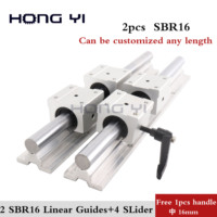 free shipping : 2pcs SBR16 linear guides L 1000mm Linear shaft rail support + 4pcs SBR16UU Linear bearing blocks