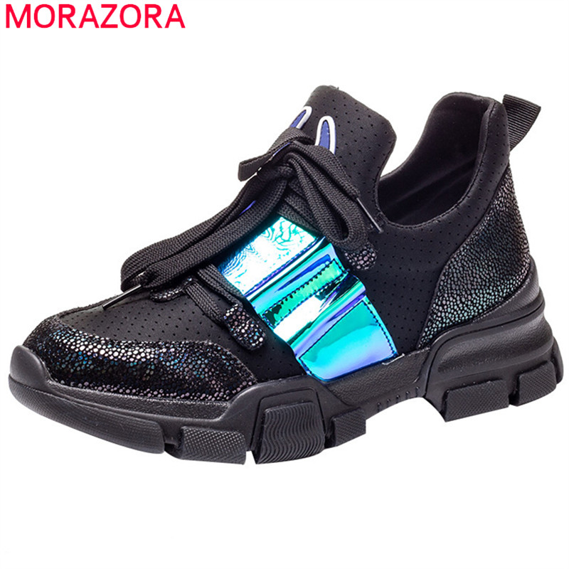 MORAZORA 2019 big size 40   suede     leather   shoes women sneakers round toe breathable mesh casual shoes flat platform sneakers woman