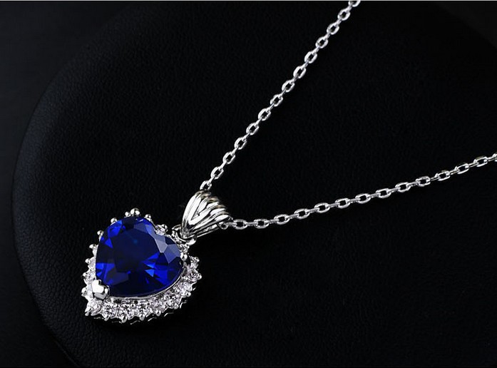 Silver color and blue austrian crystal the heart of the ocean silver color and blue austrian crystal the heart of the ocean pendant necklace titanic for women jewelry in pendant necklaces from jewelry accessories on aloadofball Image collections
