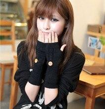 Solid Color Button Winter Women's Gloves Grid Wrist Arm Warmer Short Fingerless Knit Mitten