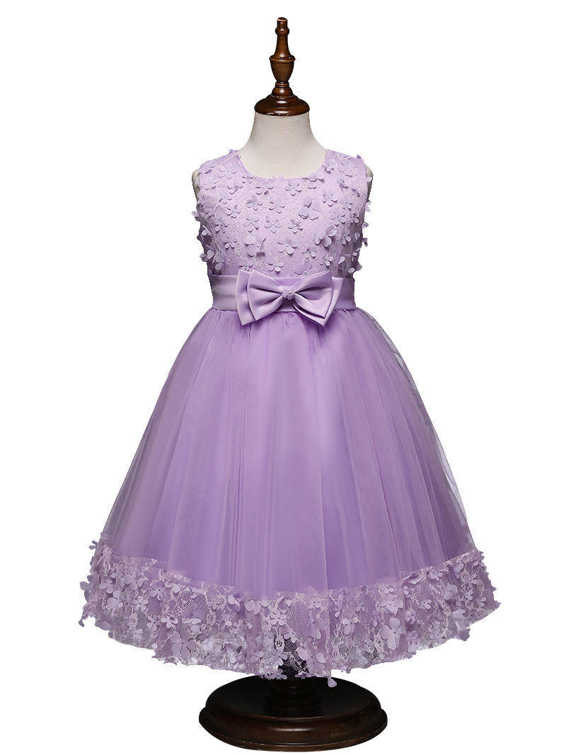 Niñas vestido flor perlas de malla princesa vestidos para Niñas Ropa ...