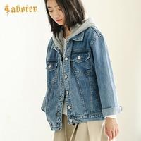9638ccf9cb 2019 Spring Autumn Hooded Jacket Women Denim Coat Fashion Casual Loose Long  Sleeve Jeans Jacket Kz671. 2019 Primavera Outono Mulheres Denim Casaco  Jaqueta ...