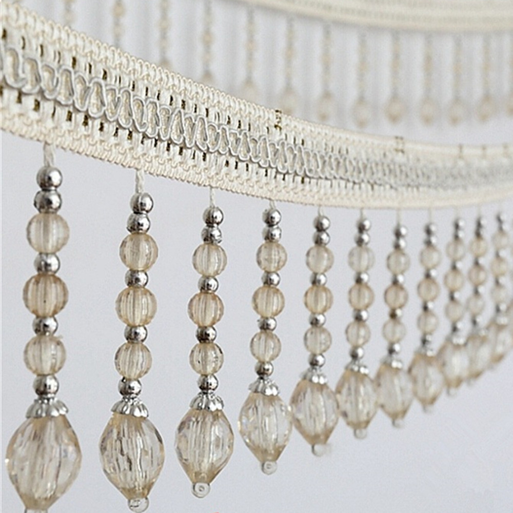 12meters Briaded Hanging Beads Tassel Fringe Trimming Applique Fabric Ribbon Tape Band Curtain Table Wedding Decorated T2583-in Tassel Fringe from Home & Garden    3