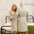 Hombres y Mujeres Pareja de Primavera y el Verano de Algodón de Lino Con Capucha Batas Camisón Albornoz Pijamas Loungewear Spa