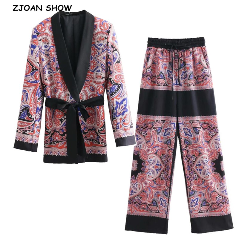 2019 Retro Paisley Print Sashes Waist Blazer Casual Woman Notched Collar Slim Fit Mid Long Suit Jacket Coat Outerwear With Belt
