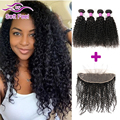 7A Peruvian Virgin Hair Kinky Curly With Frontal Closure Peruvian Curly Hair Ear To Ear Lace Frontal With Baby Hair And Bundles
