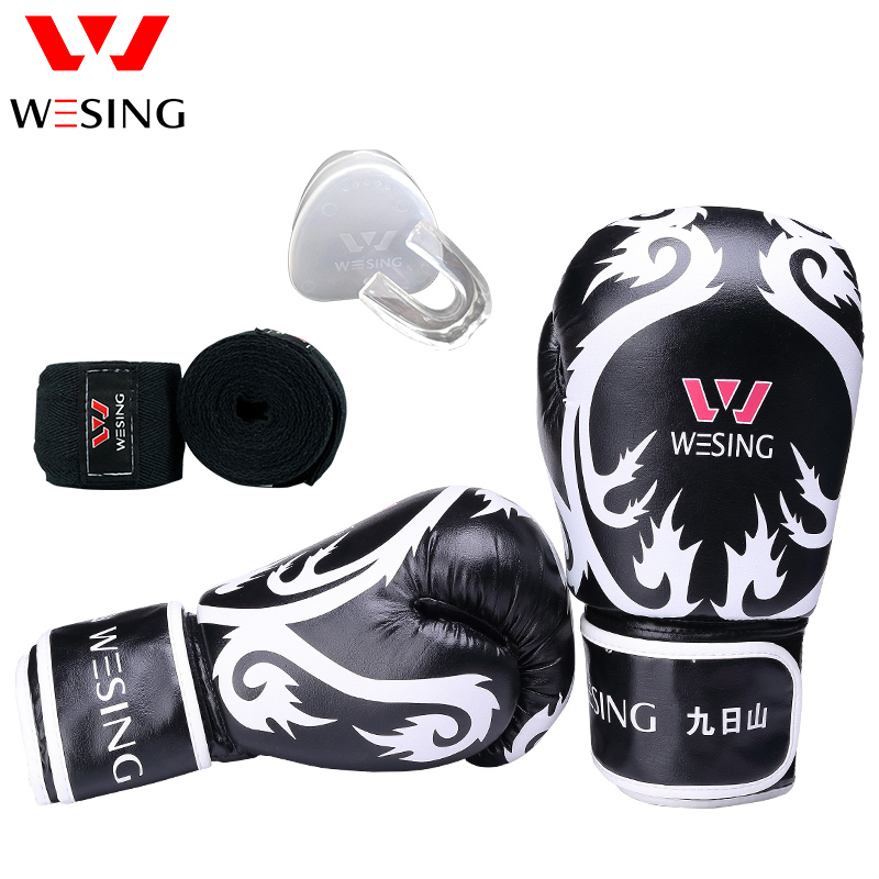 wesing boxing taining protect equipment set sanda muay thai dragon pattern gloves mouth protective hand wraps protecting