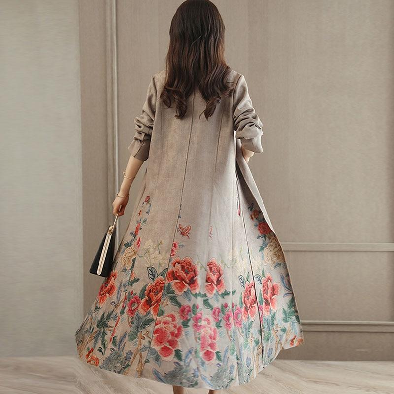Ceinture gris Avec Noir Manteau Pour Femmes Imprimé 2018 Daim Slim Longue Tranchée Automne Floral Outwear Coupe Vintage Manteaux vent D'hiver wfxBgq