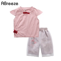 2018 New Chinese Style Children Sets 3 12Y Big Child Clothing Sets For Girls Casual Flower
