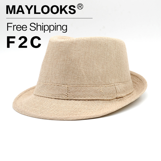 Chapeau Homme Cappello Maylooks New Fashion Fedora Hats For Men High  Quality Summer Vintage Casual Men s Linen Solid Hat Hn14 80379829980