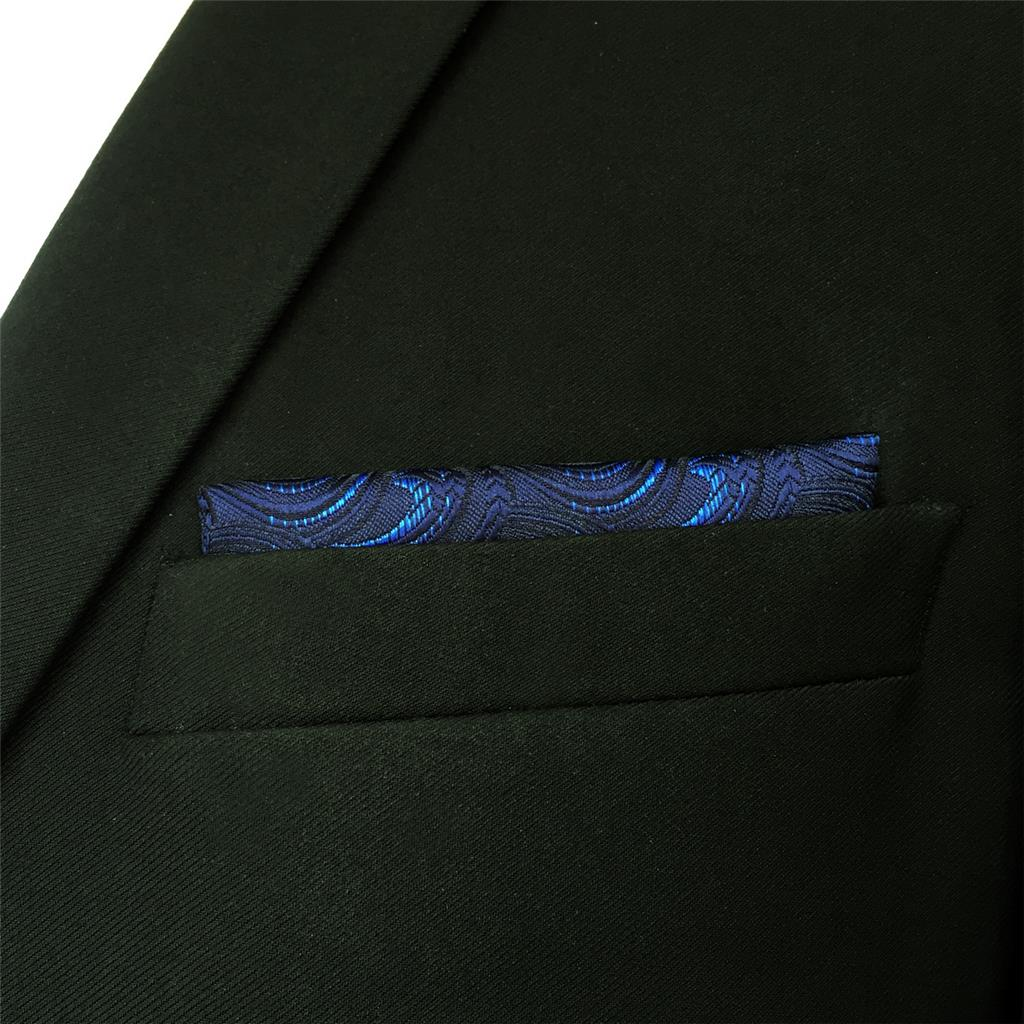 FH14 Navy Blue Geometric Mens Pocket Square Handkerchief Silk Business for Suit
