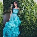 Nuvem Macia Longo Trem de luxo Plus Size vestido de Noiva Vestido De Casamento De Cristal Cor 2016 Tulle Vestidos de Casamento Robe De Mariage
