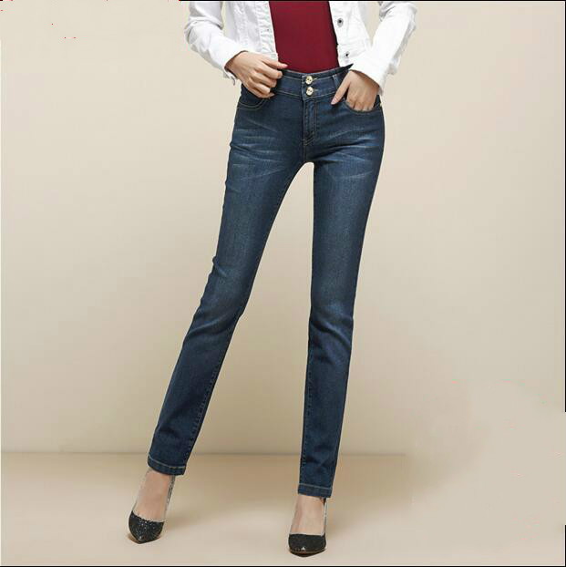 ФОТО 2017 new spring and autumn Fashion casual plus size cotton Stretch female women girls straight jeans clothing clothes