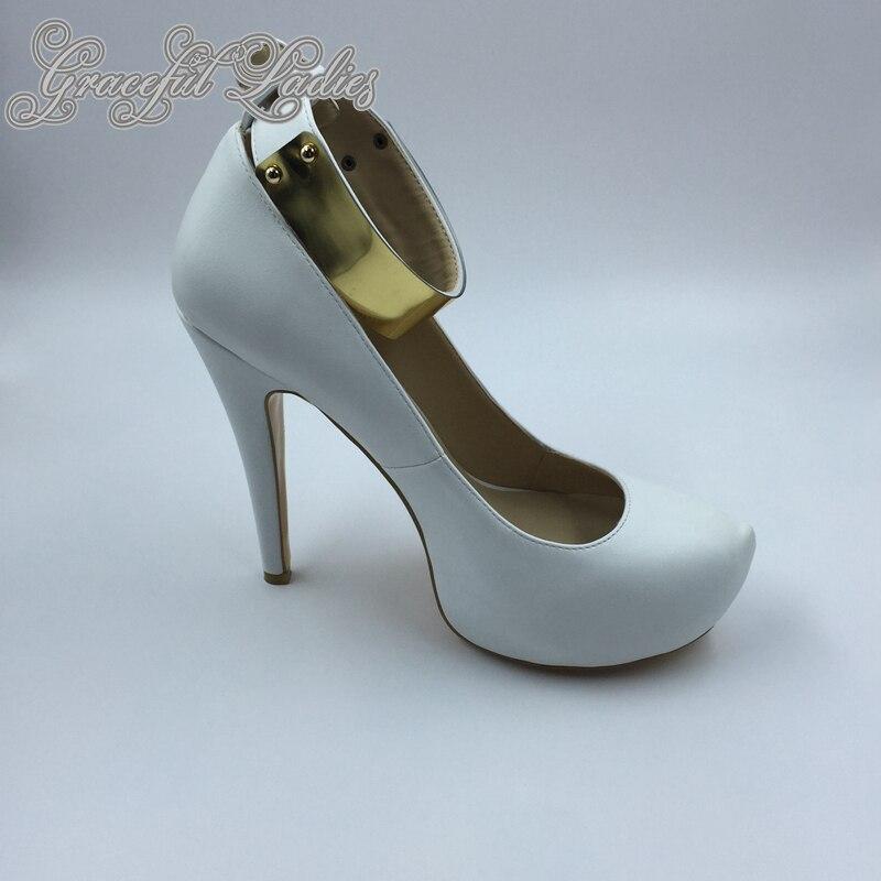 Cher Souple Plus Cheville Plate Talon Chaussures Pas Cuir Taille En Rond Pompes Chine Stilettos forme De Haute Bout Blanc 45 Sangle Mariée La ExTfPXq