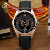 Luxury Original YAZOLE Rose Gold 3ATM Genuine Leather Dress Quartz Men Male Wrist Watch Wristwatches 371