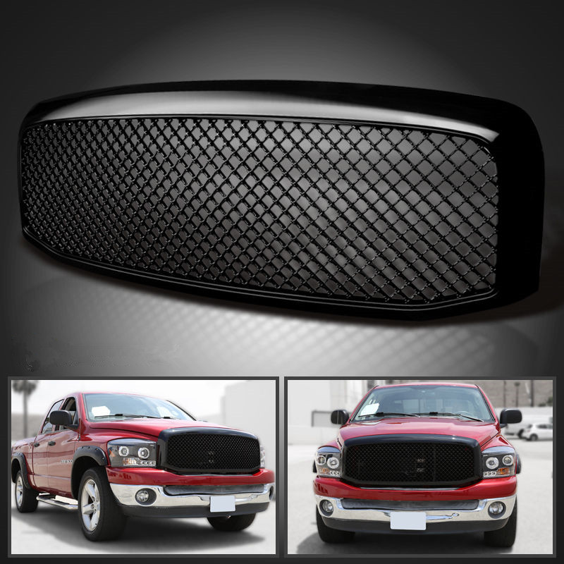 XYIVYG 2006-2008 for Dodge Ram 1500 2500 3500 Mesh Style Front Hood Grille Glossy Black ABS for 02 05 dodge ram black sport billet front hood bumper grill grille frame abs usa domestic free shipping hot selling page 7