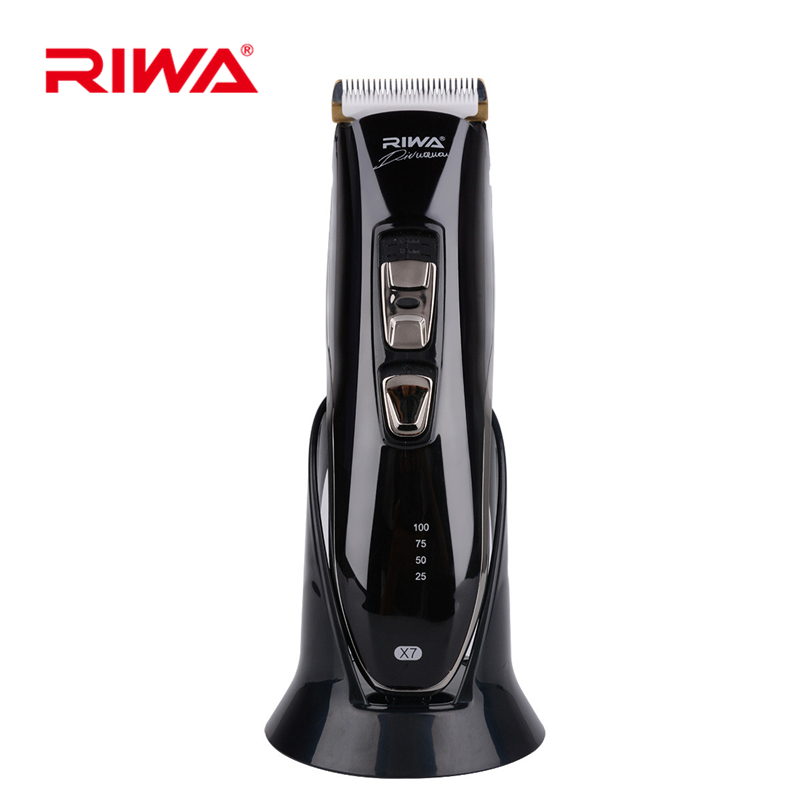 Riwa Rechargeable Hair Clipper Washable Cordless Hair Trimmer Adult Children Use Hair Cutting Machine Cuter With Charge Stand X7 rechargeable hair trimmer with accessories set silver 220v ac