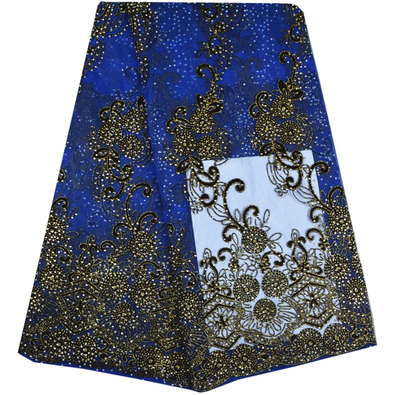 Latest Design African French Lace Fabric High Quality Guipure Lace Fabric Stones Embroidered Tulle Lace Fabric