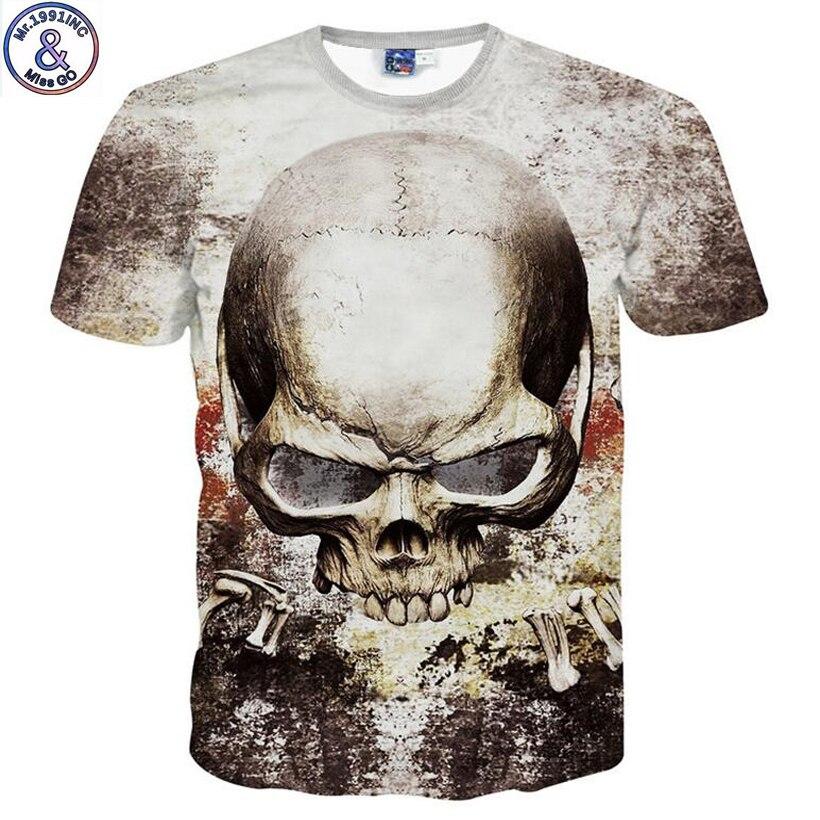 Mr.1991 nouveau arrivent grands enfants de garçon t-shirt drôle horreur crâne tête 3D imprimé adolescente garçon t shirt enfants tops NA13