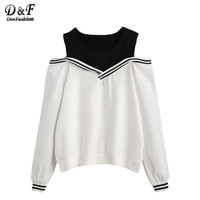 Dotfashion Female Varsity Striped Contrast Open Shoulder Women Pullovers Color Block Round Neck Long Sleeve Sweatshirt