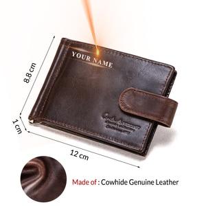Image 2 - İletişim erkek çile tasarım erkekler cüzdan kısa para klip hakiki deri ince erkek kart düzenleyici Bifold cüzdan para çantası Carteras