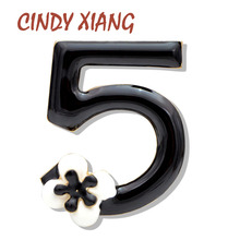CINDY XIANG New Arrival Enamel Number 5 Brooches for Women Letter Pins Coat Jeans Accessories Summer Style Jewelry Gift 2019