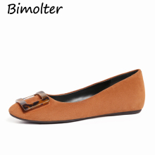 Bimolter Genuine Leather Sheepskin Flats Women Spring Summer Autumn Casual Square Jade Elegent Quality Female Shoes LFWA006