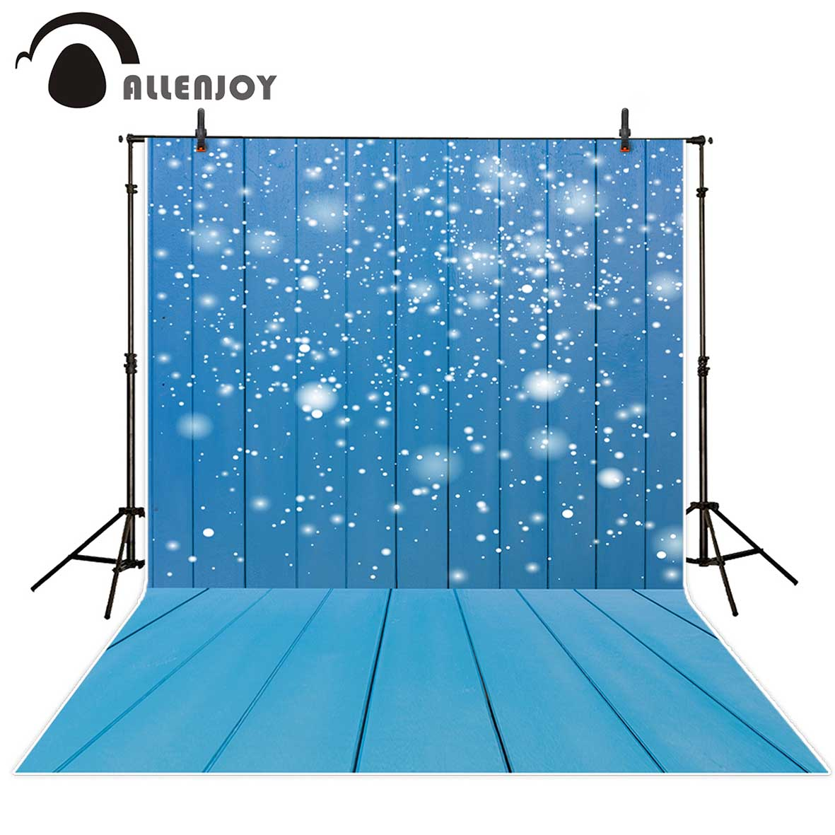 Allenjoy Blue Wood Snowy bokeh Children Background Background for a photo studio background vinyl  photographic background