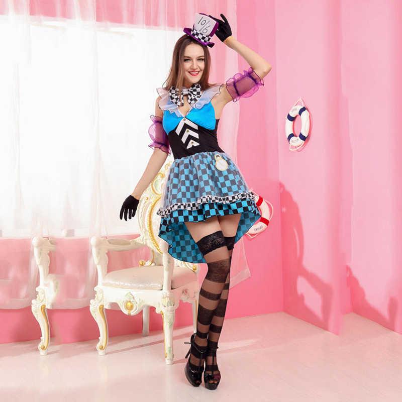 VASHEJIANG Алиса в стране чудес костюм безумного Шляпника взрослых Для женщин из фантастичного мультфильма волшебный Косплэй Хэллоуин Карнавальный Костюм волшебника