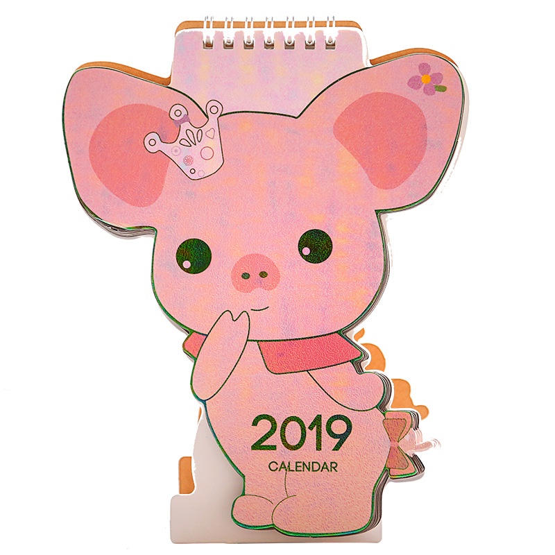 Calendar Hearty 2019 Cute Cartoon Desktop Paper Creative Desk Vertical Paper Multi-function Storage Box Timetable Plan Notebook