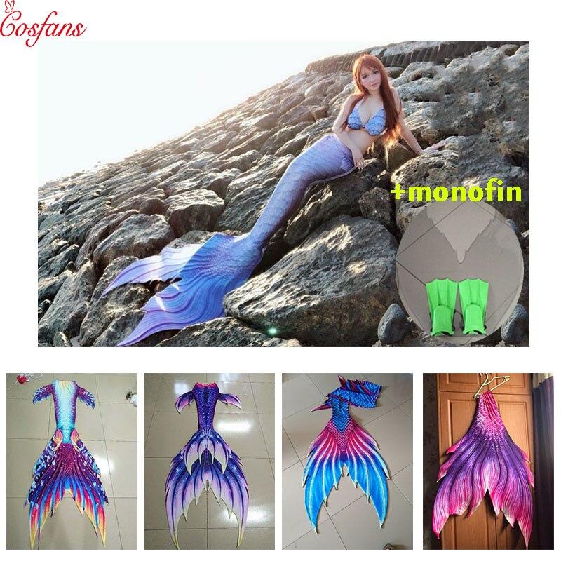 Nouveau Bikinis Set adultes nagables queues de sirène personnalisées avec monofin enfants maillot de bain queue de sirène Costume pour filles natation Cosplay
