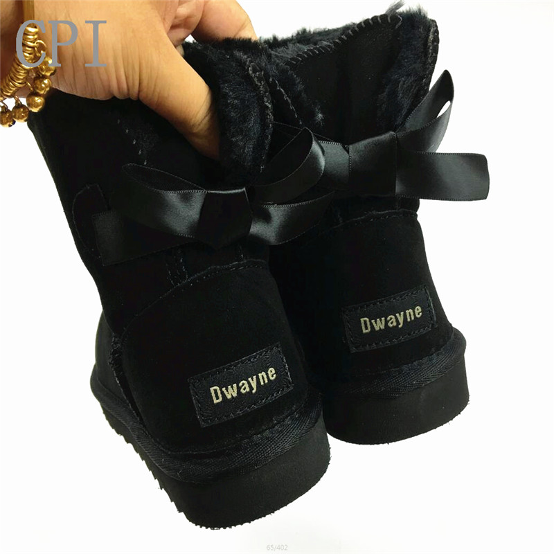 Top Qualität Echtem rindsleder Frauen Schnee Stiefel Fell Warme Wolle Stiefel frauen stiefel winter schneeschuhe große größe 32-44