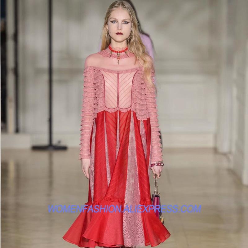 Vestiti Rosa Del Abiti Eleganti Partito Tunica Vestito Maniche 2018 Da  Estate Di A Midi Delle Lunghe Rosso Lungo Rappezzatura Donne ... 2b78b8bdf77