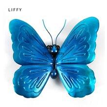 ليفي هدية الأزرق المعادن فراشة الجدار الديكور لحديقة الديكور الحيوانات في الهواء الطلق الحلي لتماثيل الفناء
